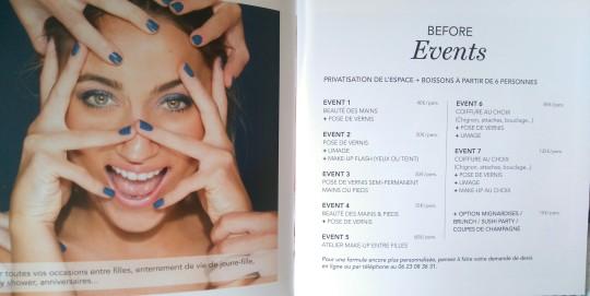 Before Beauty Bar Carte des soins